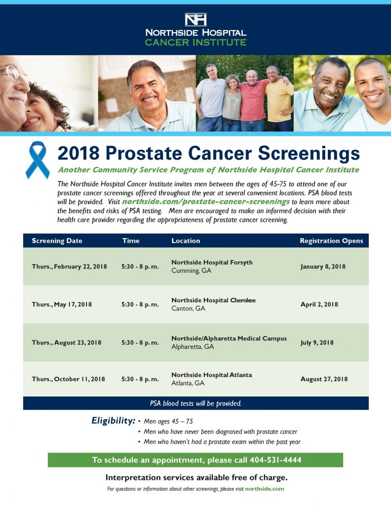 Prostate Cancer Screening Flyer 2018